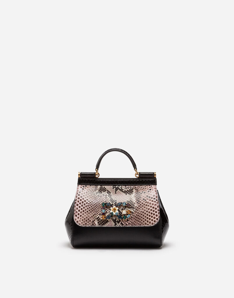 Dolce Gabbana Sicily Cross Body Bag In A Mix Of Materials