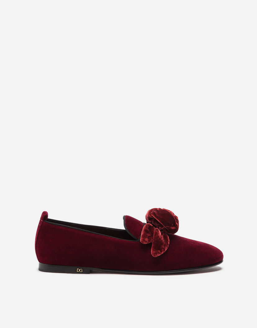 código promocional b9787 fd2e9 Mocasines y slippers hombre | Dolce&Gabbana - ZAPATOS SIN CORDONES DE  TERCIOPELO CON FLOR DE RASO
