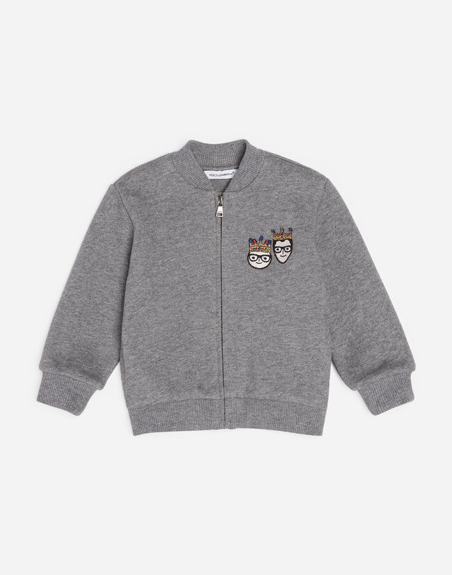 Dolce&Gabbana COTTON SWEATSHIRT WITH PATCHES OF THE DESIGNERS