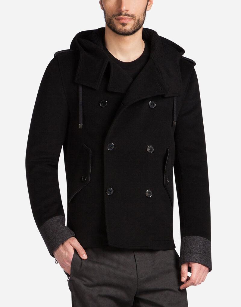 DOUBLE-BREASTED COAT IN WOOL WITH A HOOD