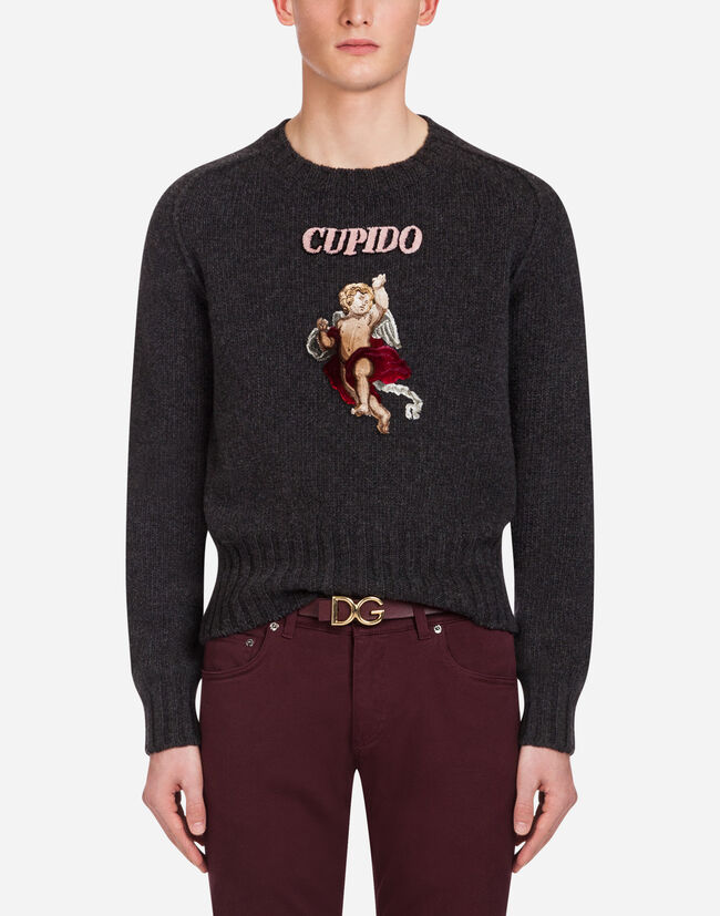 CREW NECK KNIT IN WOOL WITH PATCH
