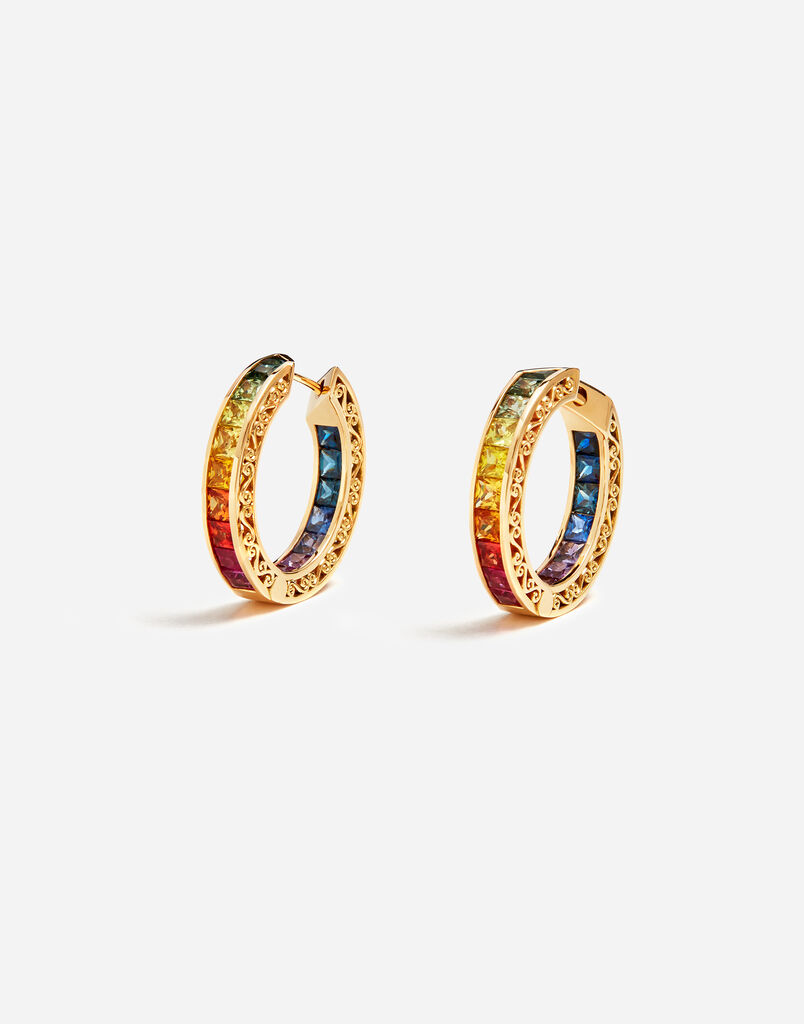 Dolce & Gabbana MULTI-COLORED SAPPHIRE HOOP EARRINGS