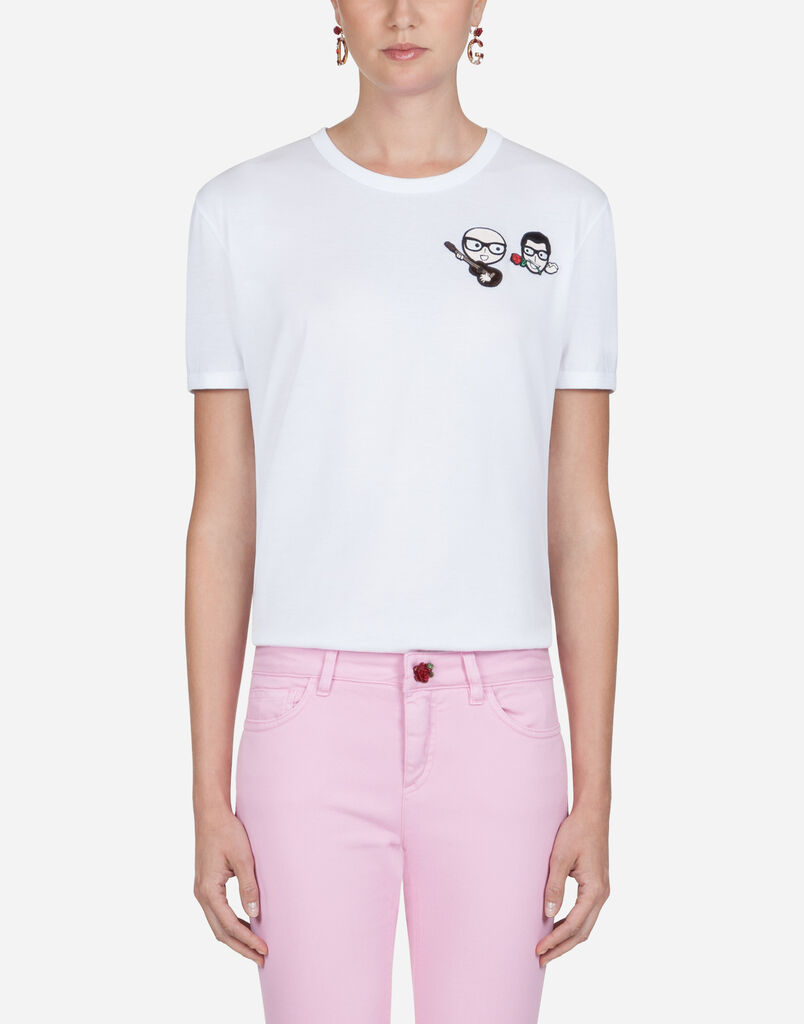 Dolce & Gabbana COTTON T-SHIRT WITH DESIGNERS' PATCHES