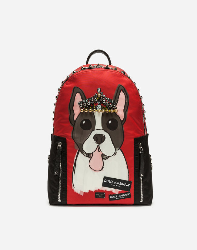 VULCANO BACKPACK IN PRINTED NYLON WITH APPLIQUÉS