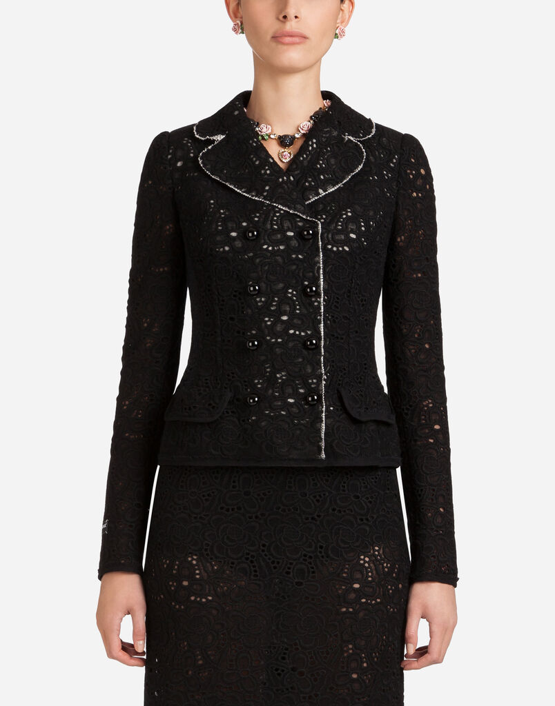 WOOL LACE DOUBLE-BREASTED BLAZER