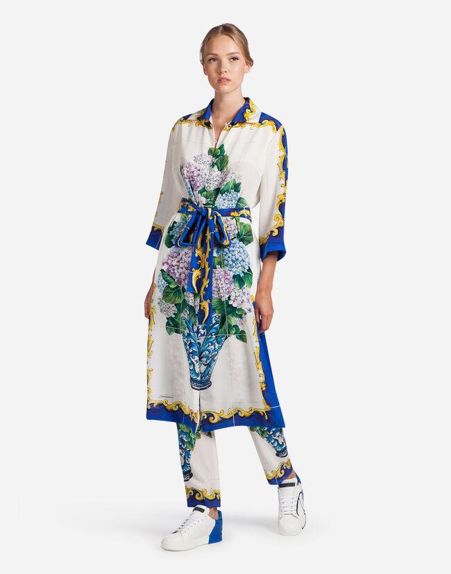 PRINTED SILK DRESS WITH WAIST BELT