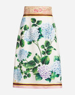 SKIRT IN PRINTED SILK WITH JACQUARD DETAIL