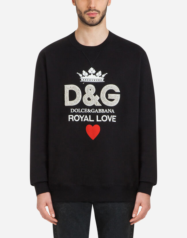 Dolce&Gabbana COTTON SWEATSHIRT WITH D&G PRINT AND CRYSTALS
