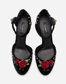 Dolce & Gabbana VELVET ANKLE STRAPS WITH EMBROIDERY