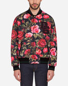 JERSEY BOMBER JACKET WITH ROSE PRINT