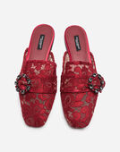LACE SLIPPERS WITH JEWEL BUCKLE