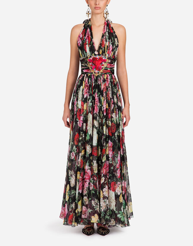 PRINTED SILK CHIFFON DRESS WITH EMBROIDERY