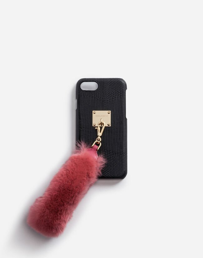 IPHONE 7/8 COVER WITH RABBIT FUR BRACELET ATTACHMENT