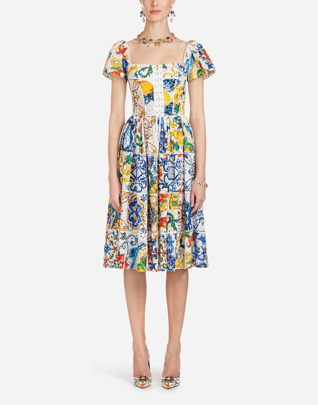 Dolce & Gabbana MAJOLICA-PRINT BRODERIE ANGLAISE DRESS
