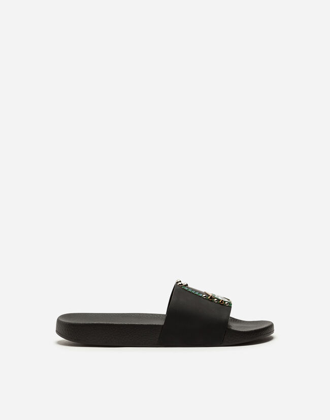 Dolce&Gabbana RUBBER AND CALFSKIN SLIDERS WITH PATCHES OF THE DESIGNERS