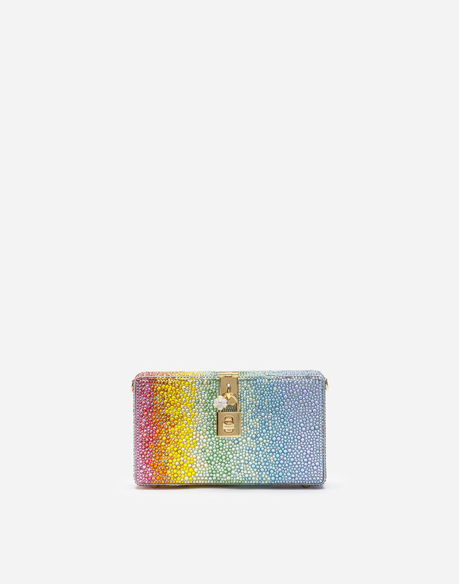 Dolce&Gabbana DOLCE BOX CLUTCH WITH HEAT-APPLIED RHINESTONES