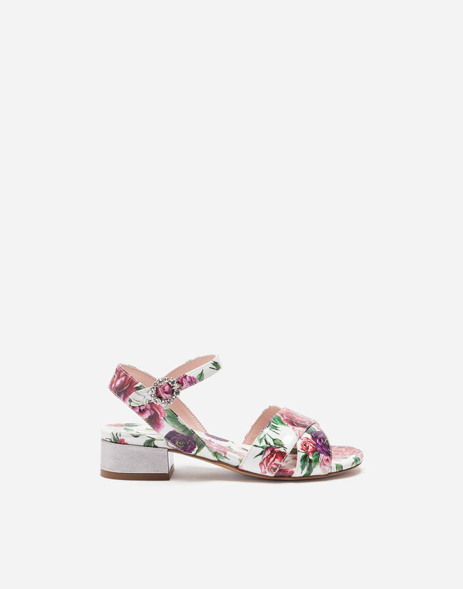 Dolce&Gabbana PATENT LEATHER SANDALS WITH APPLIQUÉ