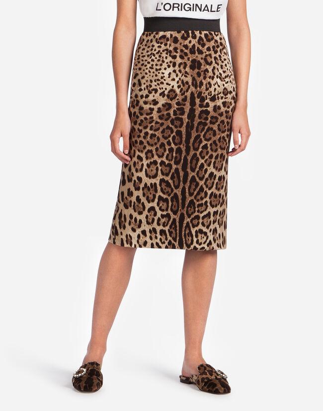 Dolce & Gabbana LEOPARD PRINT CADY SKIRT