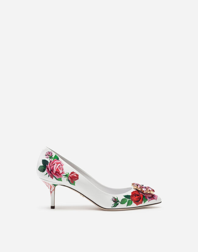 Collection - PUMPS IN PRINTED PATENT LEATHER WITH BROCHE 739ea1906435b