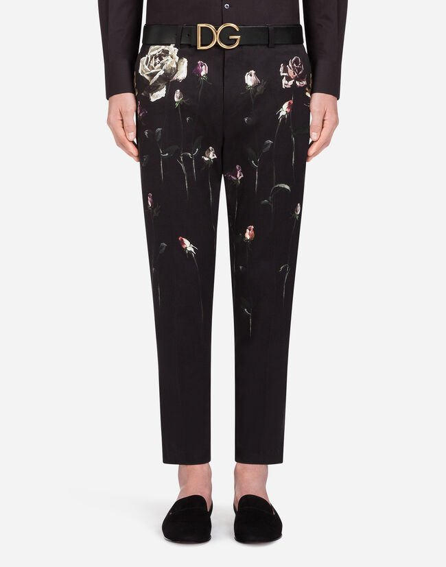 PRINTED STRETCH COTTON PANTS