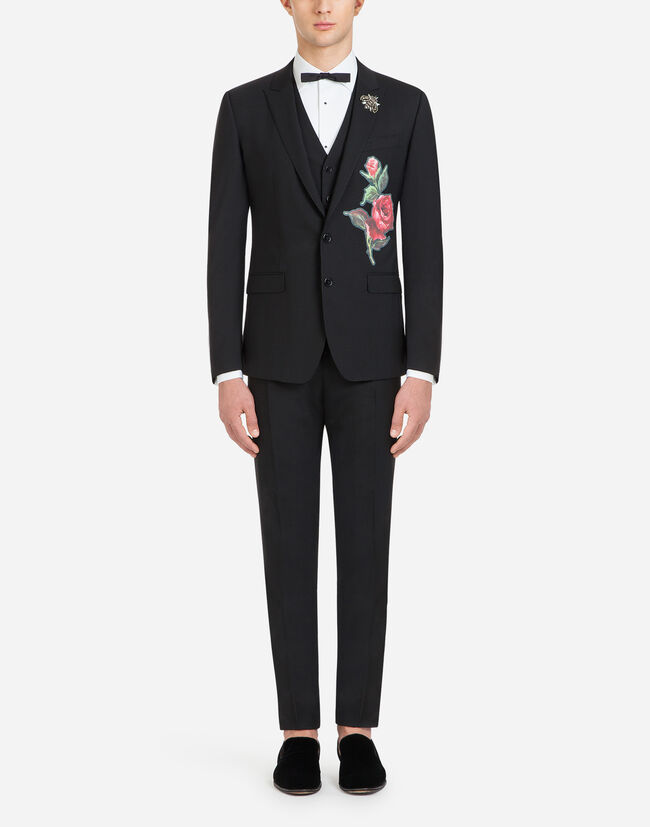 MARTINI FIT SUIT IN STRETCH WOOL WITH PATCH