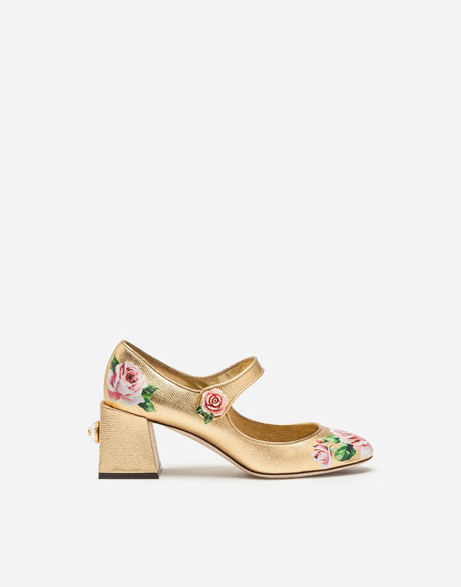 MARY JANE IN LAMINATED DAUPHINE LEATHER WITH ROSE PRINT