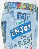 PRINTED DENIM BERMUDA SHORTS