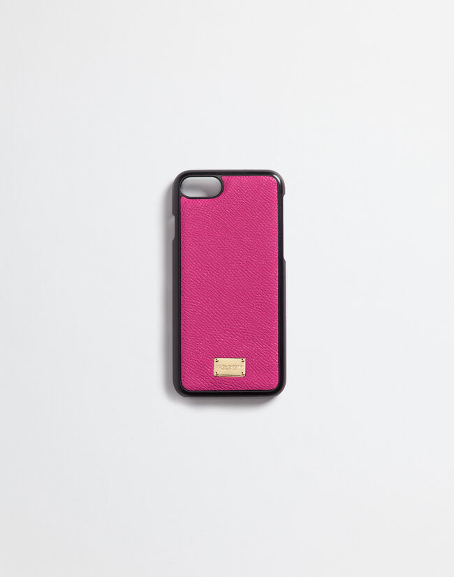 Dolce&Gabbana IPHONE 7 COVER WITH PRINTED DAUPHINE LEATHER DETAILS