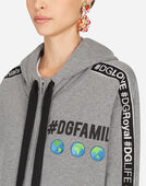 Dolce & Gabbana SWEATSHIRT WITH HOOD IN #DGFAMILY COTTON AND PATCH