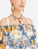 MAJOLICA-PRINT SILK TOP