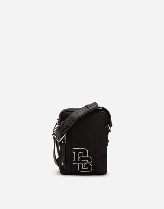NYLON SHOULDER BAG WITH LOGO PATCH