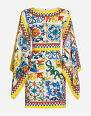 SHORT SILK DRESS WITH MAJOLICA PRINT