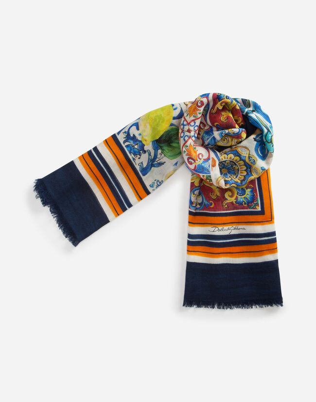 PRINTED CASHMERE AND SILK SHAWL
