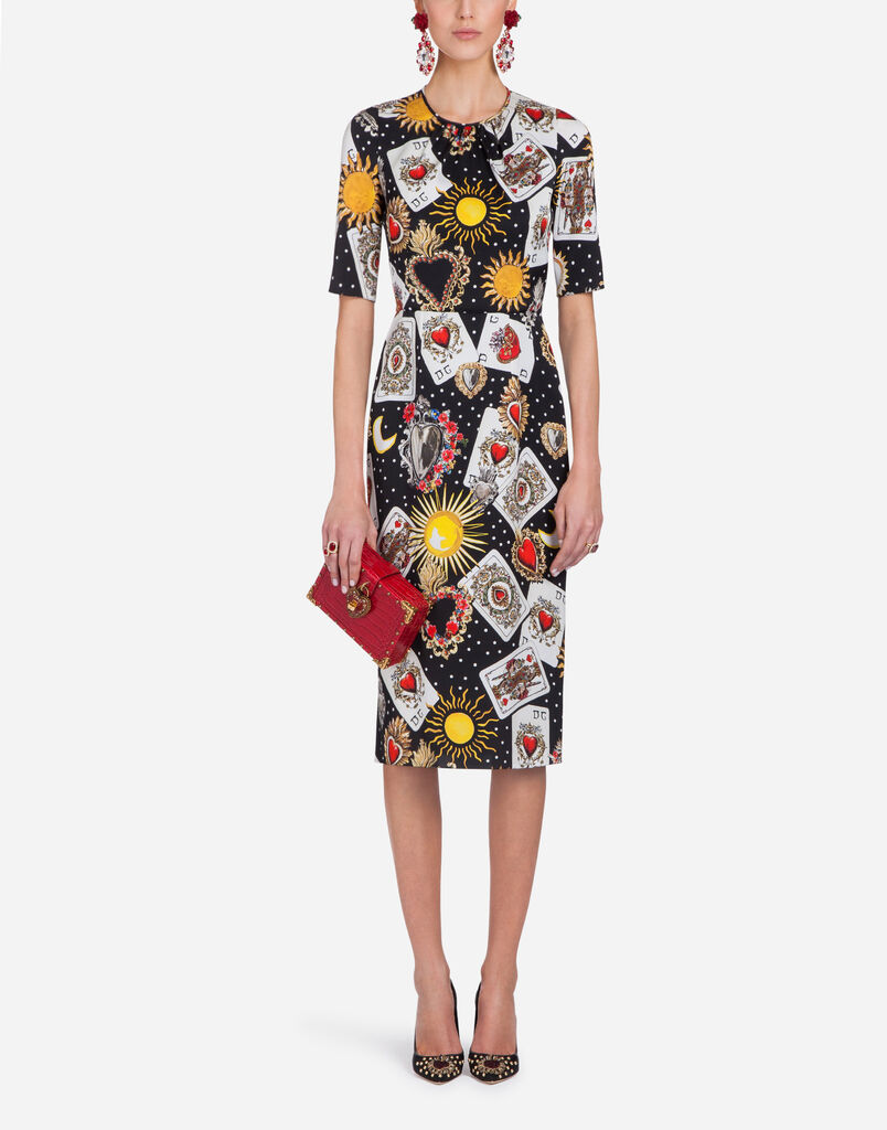 SHEATH DRESS IN PRINTED SILK CHARMEUSE