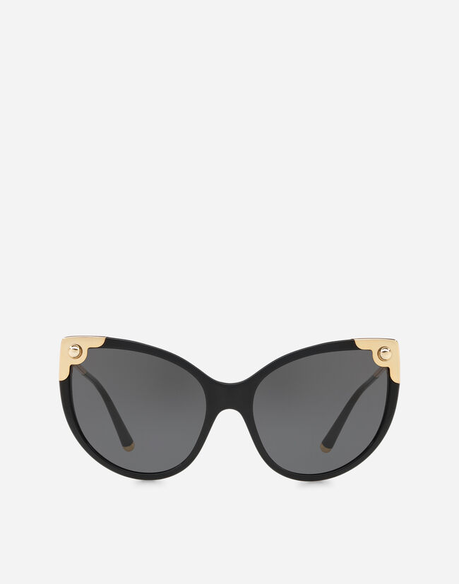 CAT-EYE SUNGLASSES IN ACETATE WITH METALLIC DETAILS