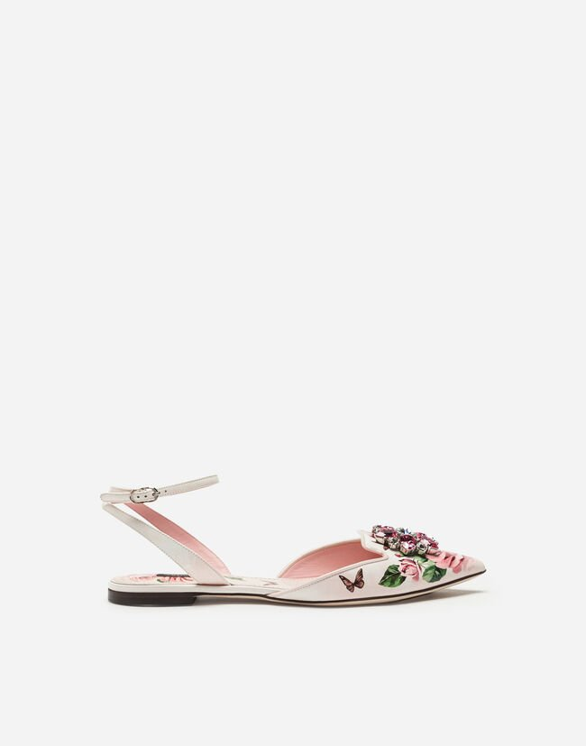 SLINGBACK IN PRINTED PATENT LEATHER WITH BROOCH