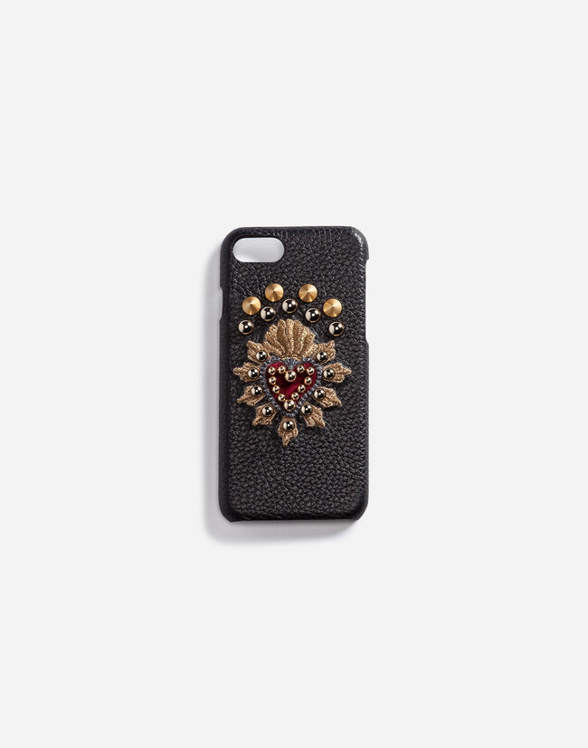 Dolce & Gabbana CALFSKIN IPHONE 7 COVER WITH SACRED HEART PATCH