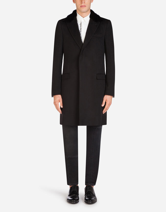 Dolce & Gabbana WOOL AND CASHMERE COAT WITH FUR DETAILS