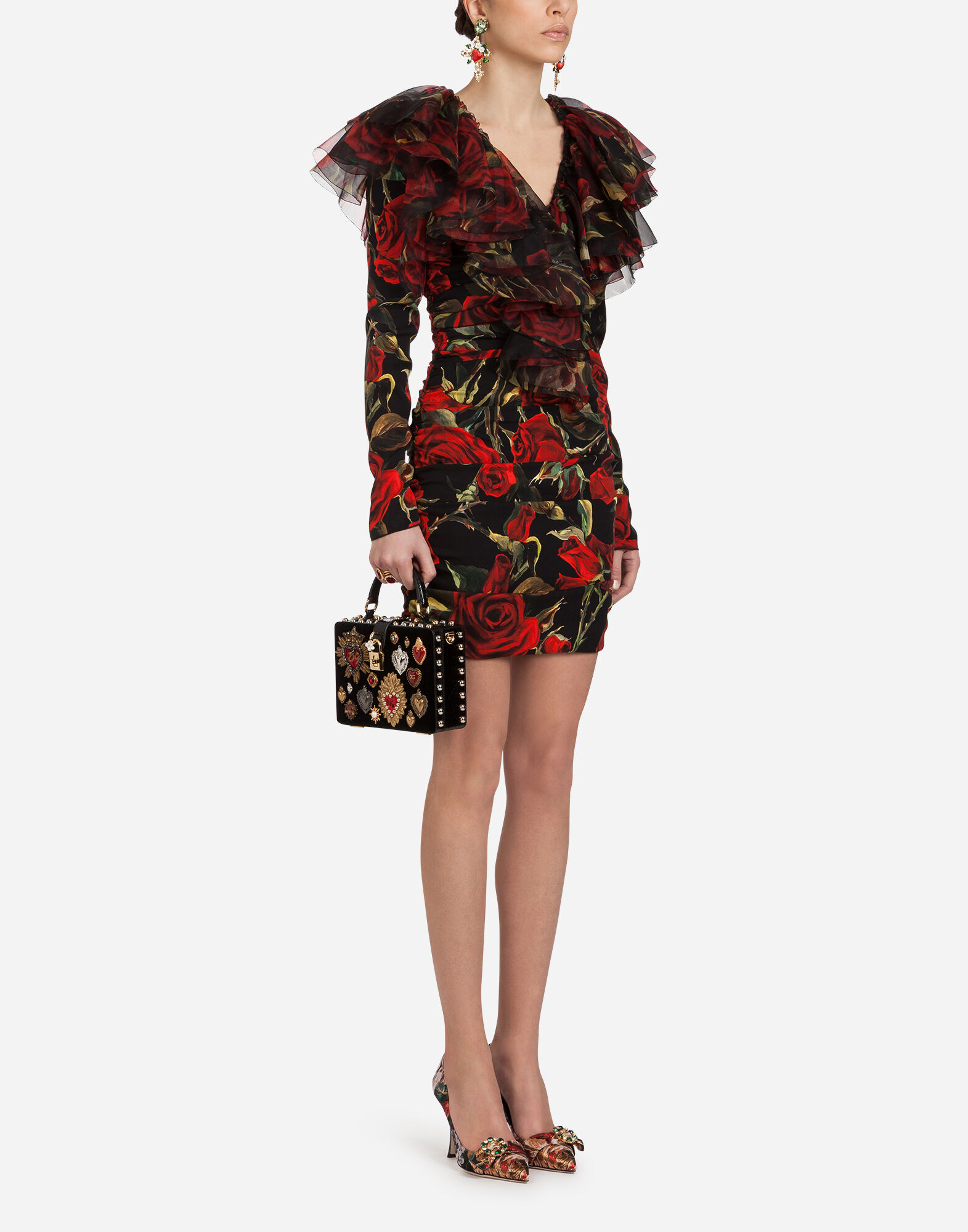 Ruffled Floral-Print Silk-Charmeuse And Organza Mini Dress in Black