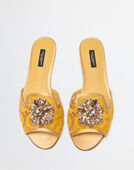 Dolce&Gabbana SLIPPERS IN LACE WITH CRYSTALS