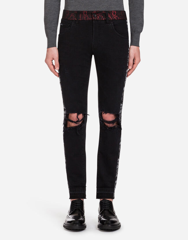 GOLD FIT STRETCH JEANS WITH BROCADE DETAILS