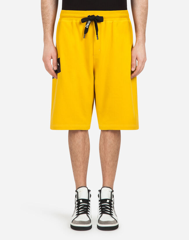 Dolce&Gabbana BERMUDA JOGGING SHORTS IN COTTON WITH PATCH