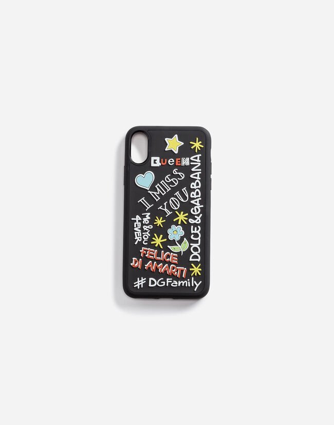 IPHONE X COVER WITH RUBBER MURAL DETAIL