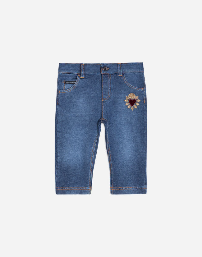 REGULAR JEANS WITH SACRED HEART PATCH