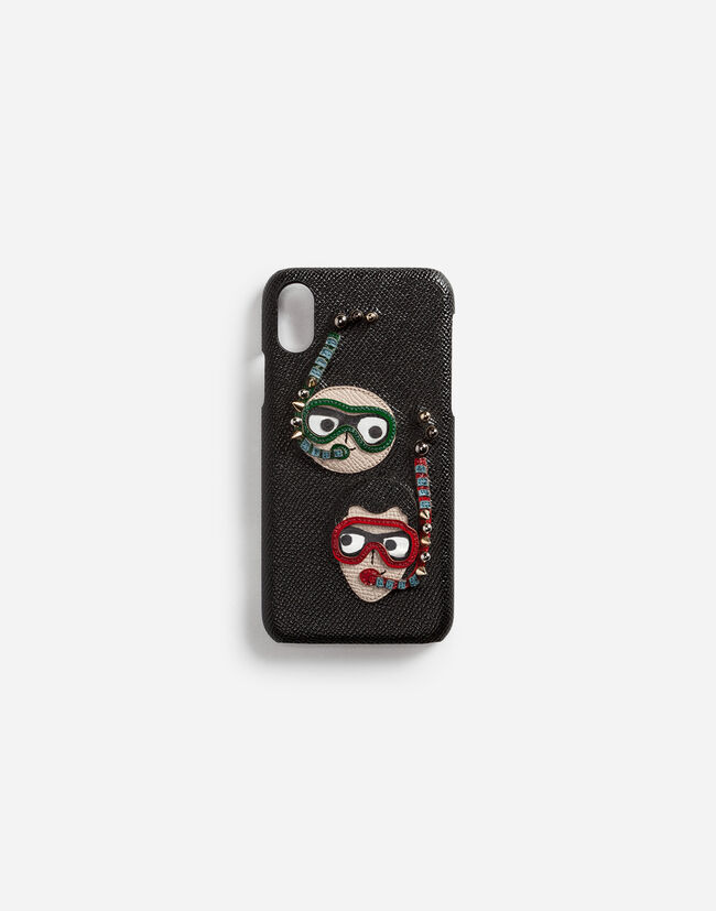 Dolce&Gabbana IPHONE X COVER IN DAUPHINE CALFSKIN WITH DIVER-STYLE PATCHES OF THE DESIGNERS