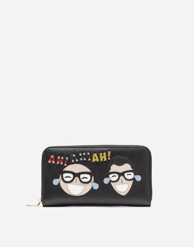ZIP-AROUND WALLET IN PRINTED DAUPHINE CALFSKIN WITH PATCHES