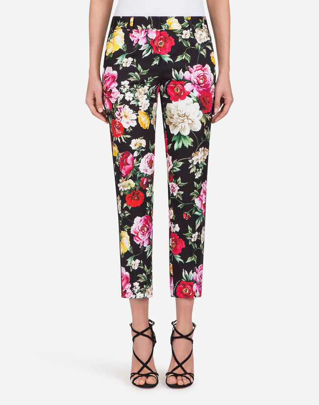 PANTS IN PRINTED COTTON DRILL