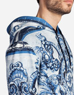 SWEATER IN PRINTED COTTON WITH A HOOD