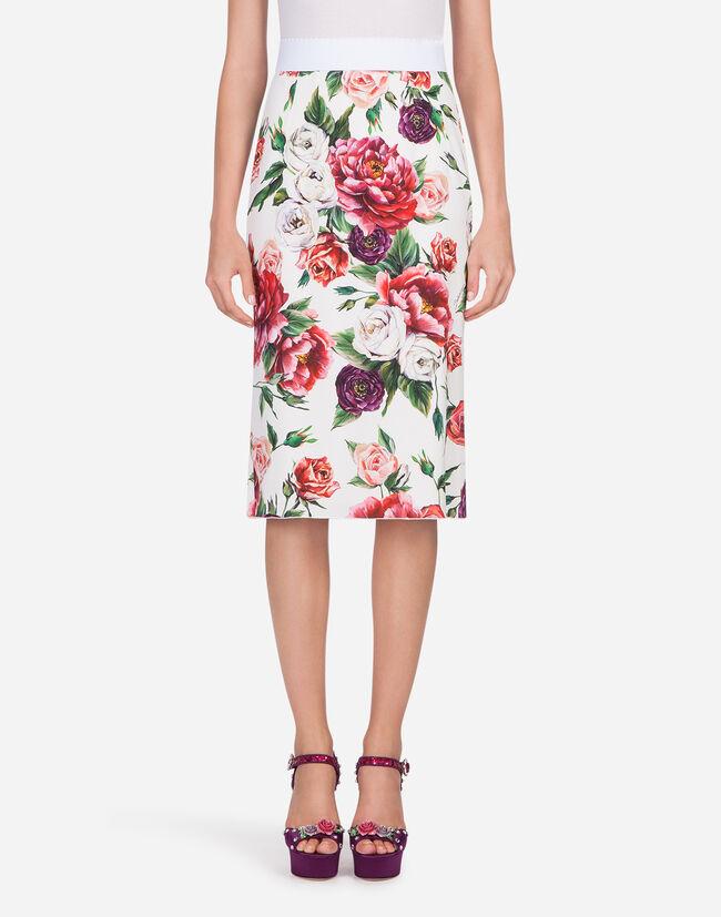 Dolce&Gabbana PEONY-PRINT CADY SKIRT