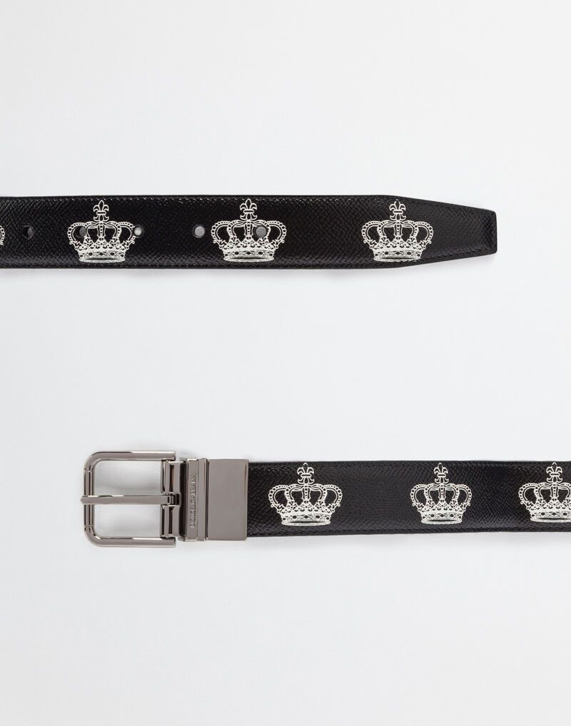 REVERSIBLE DAUPHINE LEATHER PRINTED BELT